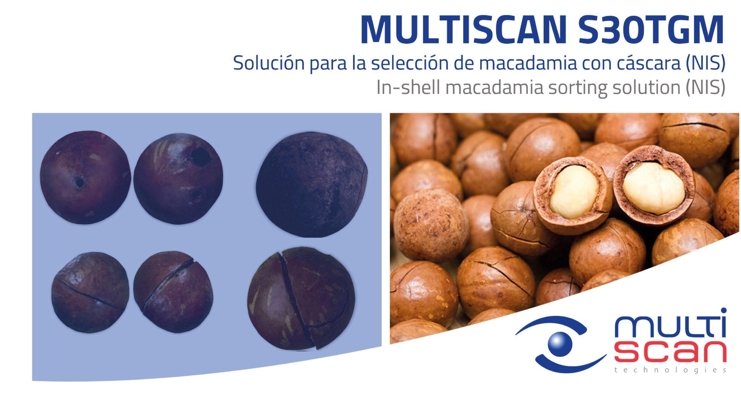 Multiscan S30TGM, selección por calidad para macadamia con cáscara